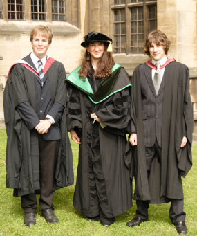 Undergraduate graduation at University of Bristol, 2008. From left: Justin Whalley, Prof. Lorena Barba, Simon Layton.