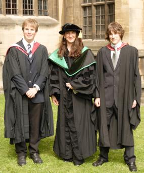 Undergraduate graduation at University of Bristol, 2008. From left: Justin Whalley, Prof. Lorena Barba, Simon Layton.