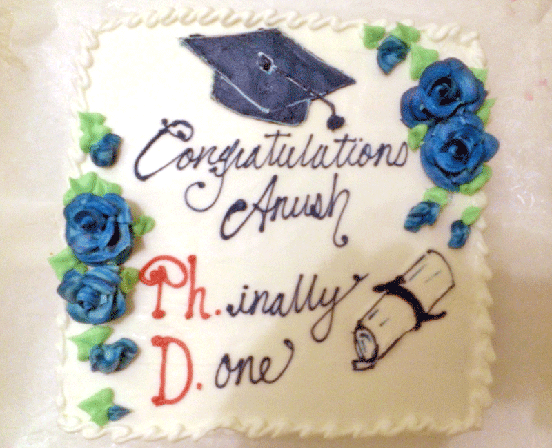 Congratulations Anush! Friends surprised Anush with this lovely cake to celebrate his accomplishment.