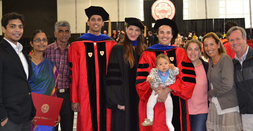 Happy graduates and their families, Boston University, 2015